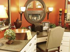 Copper tones pour out sophistication in the bathroom, especially when paired with brushed-bronze fixtures and a muted sunset wall color. Silver Living Room, Accent Walls In Living Room, Condo Decorating, Interior Decorating, Interior Design, Living Room Inspiration, Home Decor Inspiration, Orange Color Schemes, Bathroom Color Schemes