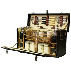 Four Person Motoring Picnic Hamper | From a unique collection of antique and modern serving pieces at https://www.1stdibs.com/furniture/dining-entertaining/serving-pieces/