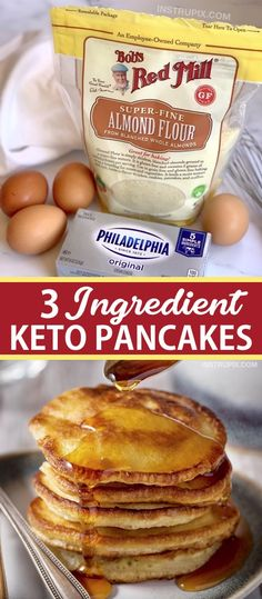 3 Ingredient Keto Pancakes Easy Low Carb Breakfast Idea Looking for easy keto breakfast recipes besides just eggs These quick and easy keto cream cheese pancakes are made. Keto Cream Cheese Pancakes, Low Carb Pancakes, Pancakes Easy, Homemade Pancakes, Breakfast Pancakes, Breakfast Gravy, Keto Desserts Cream Cheese, Mcdonalds Breakfast, Almond Flour Pancakes