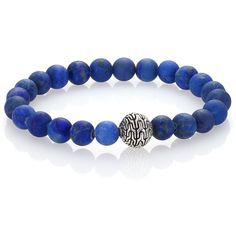 John Hardy Classic Chain Lapis & Sterling Silver Beaded Stretch... ($325) ❤ liked on Polyvore featuring jewelry, bracelets, takı, apparel & accessories, chain bracelet, sterling silver bead bracelet, stretch bracelet, sterling silver stretch bracelet and stretchy bracelet