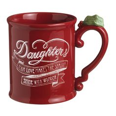 Grasslands Road Holiday 4-Pack 'Daughters' Ceramic Mug, 16-Ounce, Red ** For more information, visit now : Coffee Cups and Mugs
