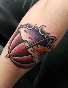 Thunderstorm by Kym Clark at Embody Art in Tifton GA. Black Tattoos, Body Art Tattoos, Tribal Tattoos, Rain Tattoo, Tattoo Mistakes, Traditional Ink, Best Tattoo Designs, Thunderstorms, Deathly Hallows Tattoo