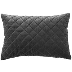 Charcoal Quilted Velvet Cushion 35cm-cushions-cravehome