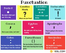 Punctuation Marks in English | List, Names & Examples - 7 E S L