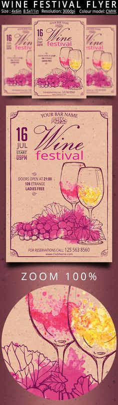 Wine Festival Retro Vintage Flyer by oloreon on @creativemarket - autumn, bar, bottles, bundle, celebration, champagne, club, drink, elegant, event, fall, festival, flyer, france, glass, grapes, italy, nightclub, nigth, party, restaurant, spain, Spring Festival, Spring Party, summer, summer party, template, vine, wine, wine festival