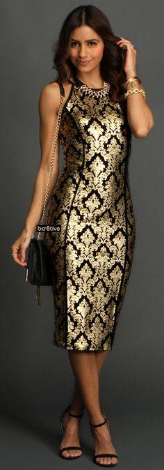 Black Brocade Midi Dress       jaglady