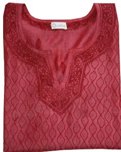 Brick color tunic in tussah silk is beautifully hand embroidered in shadow work technique. All over embroidery in front and spread out buti embroidery at back. Brick Colors, Silk Tunic, Embroidery, Cotton, Beauty, Tops, Fashion, Moda, Needlepoint
