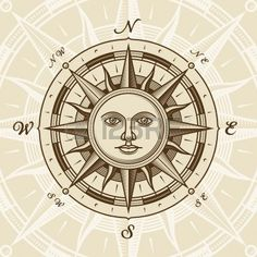 Jahrgang Sun Compass rose Stockfoto