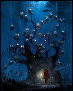 Ilustración infantil, cuentos, bosque, lechuzas, noche, buhos, niña, árbol.