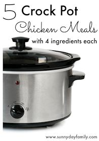 5 chicken dinners for your crock pot with only 4 ingredients each! Double them and freeze to make 10 meals at once!