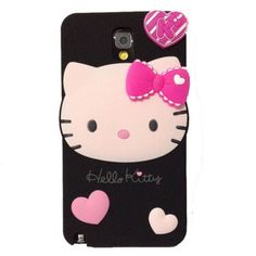 Cute-Cartoon-Black-Hello-Kitty-3D-Soft-Silicone-Cover-Case-For-Samsung-cellphone