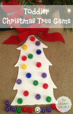 We're sharing a playful games for the holidays with toddlers and preschoolers. This Christmas Tree Game will provide hours of play plus sneak in a little learning too! Have you been collecting lids at Christmas Tree Game, Christmas Themes, All Things Christmas, Christmas Holidays, Happy Holidays, Christmas Decorations, Christmas Crafts For Toddlers, Toddler Christmas, Holiday Crafts