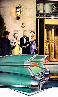 1959 Cadillac tail fins shown in front of the Ritz-Carlton, vintage advertising