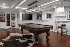 Bright and dreamy kitchen for a renovated Colonial home in New England #billiard #pooltable #gameroom Game Room Basement, Basement Pool, Basement Black Ceiling, Basement Ideas, Basement Designs, Pool Table Room, Video Game Rooms, Colonial Style Homes, Billiard Room