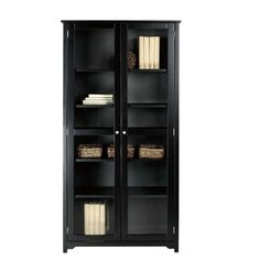 Home Decorators Collection Oxford Black Glass Door Bookcase-3012250210 - The Home Depot
