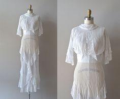 1900s pure white cotton lawn and cotton gauze tea/wedding dress