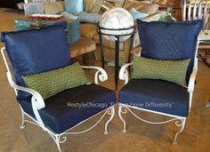 More outdoor furniture! Love how you put new cushions & pillows to vintage iron chairs! They are so comfortable! #restylechicago #reluxvintage #resaleshop #resale #outdoorpatio #outdoor https://www.instagram.com/p/BSWd9FnAZRh/