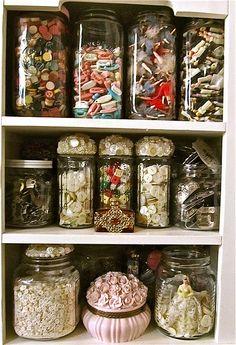 That's a lot of stuff, but I love the way it's thoughtfully organized into glass jars for display.