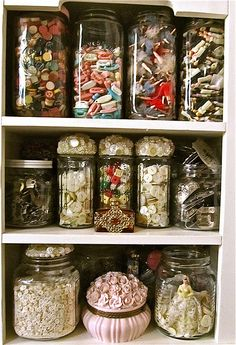 That's a lot of stuff, but I love the way it's thoughtfully organized into glass jars for display.
