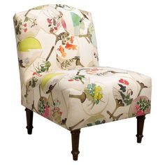 Pine-framed accent chair with foam cushioning and a floral fan motif. Handmade in the USA.   Product: ChairConstruction ...