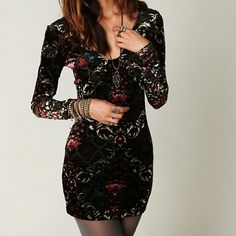Free People velvet bodycon Free People velvet bodycon mini dress, worn only a couple of times & in excellent condition. The pictures don't do this dress justice. It has gold, burgundy, pink & blue floral designs throughout and some mesh as well. Really awesome party dress! No flaws, smoke & pet free home. Free People Dresses Mini