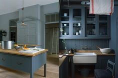 Duck egg blue open kitchen with wooden centre work surface