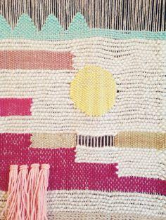 Weaving on the loom by Maryanne Moodie  www.maryannemoodie.com