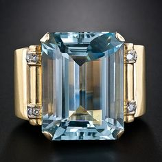 Retro Aquamarine Ring, ca. 1940-50s beautiful