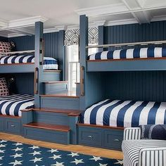 A blue stars rug sits in front of navy blue wood built-in bunk beds dressed in blue awning stripe duvet covers topped with blue and red pillows. Bunk Beds For Boys Room, Bunk Bed Rooms, Bunk Beds Built In, Painted Bunk Beds, Bedrooms, House Bunk Bed, Bunk Bed Designs, Dream Rooms, Bedroom Decor