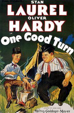 Laurel And Hardy One Good Turn (1931) Movie Poster https://www.youtube.com/user/PopcornCinemaShow