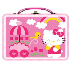 Hello Kitty Metal Tin Lunch Box Flowers