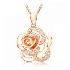 925 Sterling Silver Rose Pendant with White Cubic Zircon Rose Golden Necklace from #YesStyle <3 BELEC YesStyle.com