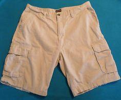 Mens Size 38 St. John's Bay Classic Khaki Cargo Shorts, 6 Pocket Style. $7.99