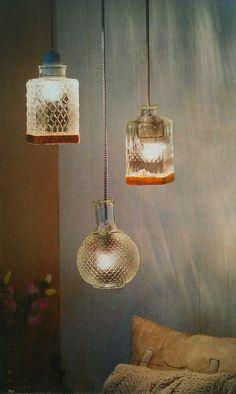 Inspiratie vaas-lampen (zelf maken met gekleurd snoer)