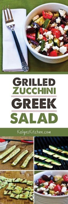 Strips of grilled zucchini replaces the cucumbers in this Grilled Zucchini Greek Salad, and this is a delicious low-carb side dish or meatless main dish. This tasty salad is also gluten-free and South Beach Diet friendly. If you have lots of zucchini in the summer, PIN this salad; you'll love it! [found on KalynsKitchen.com]