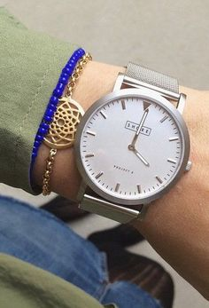 Silver Watch + Blue Beaded Bracelet