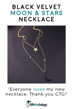 """Black Velvet Moon & Stars Necklace >> """"Everyone loves my new necklace!"""" >> You'll always get compliments by all moon, star and space lovers. This necklace is affordable, beautiful and will make a great addition to your wardrobe!  Found exclusively on GiftTheGalaxy.com #GiftTheGalaxy @GiftTheGalaxy Star Necklace, Arrow Necklace, Galaxy Jewelry, Space Jewelry, Space And Astronomy, Stars And Moon, Black Velvet, Compliments, Best Gifts"""