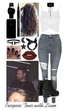 """""""Purpose Tour Concert with Liam"""" by moansforlilo ❤ liked on Polyvore featuring Topshop, Manokhi, Boohoo, Lime Crime, Givenchy, Rado, LiamPayne, black and PurposeTour"""