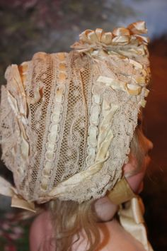 French Antique Lace Doll Bonnet for French Dolls, great for Bru, Jumeaux too!