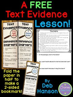 Teaching students to find text evidence to support their answers is an important reading strategy and test taking strategy. This post contains a FREE text evidence lesson! It includes text evidence sentence starters, a free reading passage, and other tex Reading Strategies, Reading Skills, Teaching Reading, Free Reading, Close Reading, Teaching Ideas, Guided Reading, Reading Resources, Literacy Strategies
