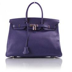 Hermes BIRKIN 35 tote in cobalt blue togo.  Such a great color!