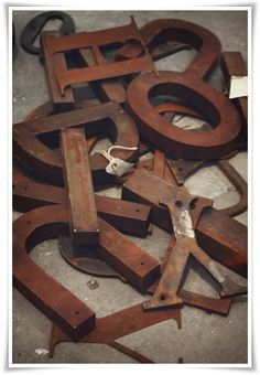 Industrial rusty letters = great home decor items..