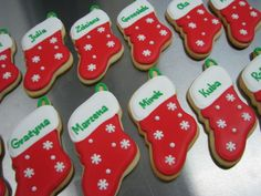 christmas stocking with names cookies Christmas Stocking Cookies, Christmas Stockings With Names, Christmas Sugar Cookies, Cookie Decorating, Decorating Ideas, Merry And Bright, Christmas Decorations, Baking, Gifts