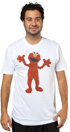 This Photo Real Elmo Shirt features an image of the ticklish Sesame Street character.