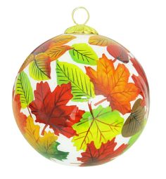 Fall Leaves Glass Ornament