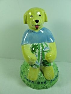 FROGS & SNAILS & PUPPY DOG TAILS Ceramic Dog Coin Bank SKIPPER - Kelly Rightsell #KellyRightsell
