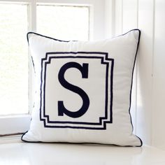 Love these for boys too  Preppy Hampton's style for boys! Style out his room with our new Sail Away Monogrammed Cushion in classic white with navy piping. Custom monogrammed in navy with your choice of letter.     Please allow up to 3 weeeks for delivery as these cushions are made to order.     40cm square. Linen/cotton. Insert included.     Made in Australia.
