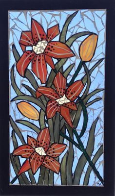 Tigerlily Stained Glass Mosaic Panel - Delphi Artist Gallery