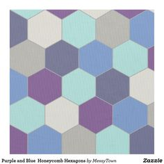 Purple and Blue  Honeycomb Hexagons Fabric
