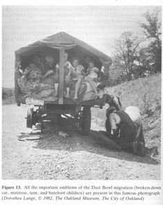 In 1935 many families had to leave their homes and farms seeking work and food due to the drought caused by the dust bowl. This lasted for about 4 years. This is a picture of one family leaving and mirgrating to a better place for their survial during these times.